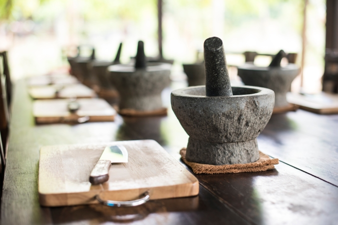 Thai pestle mortar table
